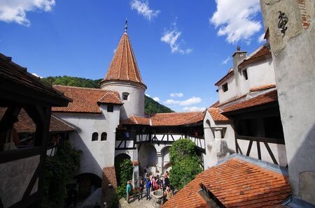 Bran, Romania - September 09, 2015: courtyard of Dracula castle. It is among several locations linked to the Dracula legend.