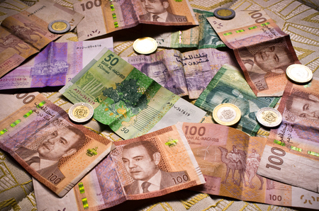 arabic currency: Different types of moroccan money Stock Photo