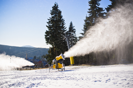 Snow cannon during the work