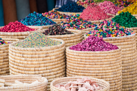 marocco: Lot of different spices on the market, Morocco