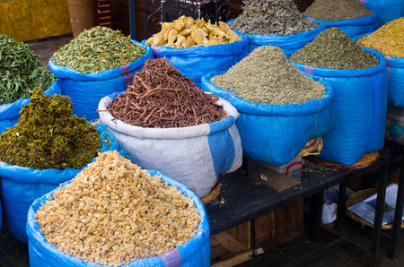 Lot of different spices on the market, Morocco