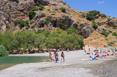 Crete, Greece - June 18, 2015: Preveli beach. It is famous palm-beach on Create Island.