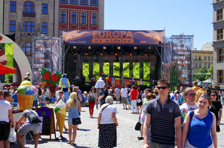 Wroclaw, Poland - Jun 06, 2015: Europe on the Fork event. Polish name is Europa na Widelcu. Event organized by Robert Maklowicz and Piotr Bikont. The idea for this festivities on the Market Square of Wroclaw is to show specialities from former Europea Editorial
