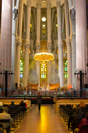 Barcelona, Spain - March 03, 2016: Interior of Sagrada Familia church. Designed by Catalan architect Antoni Gaudi. Building began in 1882 and expected finish date is 2026. Editorial