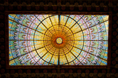 modernisme: Barcelona, Spain - March 03, 2016: Palau de la Musica opera. Inaugurated in February 9, 1908, it is one of most famous concert hall in Spain.