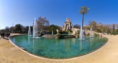 Barcelona, Spain - March 03, 2016: Famous fountain in Parc de la Ciutadella. It was designed by Josep Fontsere. Park is located on the northeastern edge of Ciutat Vella.