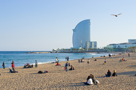 Barcelona, Spain - March 03, 2016: Barceloneta Beach.  Barcelonas most crowded and most touristy stretch of sand.