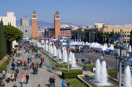 Barcelona, Spain - March 03, 2016: Barcelona Marathon. he Barcelona Marathon is a 42,195 km running race which is becoming a popular classic on the international marathon calendar.  It has been run since 1977 on a flat and scenic route through some beauti
