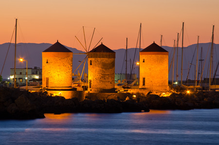 Windmills in the port of Rhodes - Greece