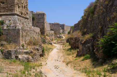 moat wall: Enormous ancient walls of Rhodes town - Greece