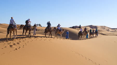 Sahara Desert, Morocco - March 22, 2016: Caravan. It is very popular tourist activity in Morocco. Editorial