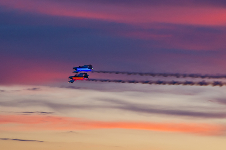 Leszno, Poland - June 18, 2016: night show on the airshow. Leszno Air Picnic 2016 is annual event that attracts thousands of viewers.