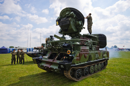 Leszno, Poland - June 18, 2016: military exhibition on the air show. Leszno Air Picnic 2016 is annual event that attracts thousands of viewers. Editorial