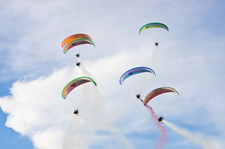 Leszno, Poland - June 18, 2016: paratroopers during the air show. Leszno Air Picnic 2016 is annual event that attracts thousands of viewers. Editorial