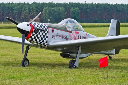 fixed wing aircraft: Leszno, Poland - June 18, 2016: fighter on static display. Leszno Air Picnic 2016.