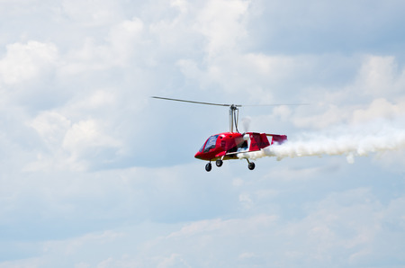 Leszno, Poland - June 18, 2016: plane during the air show. Leszno Air Picnic 2016 is annual event that attracts thousands of viewers.