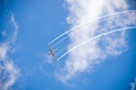 航空ショー: レシュノ、ポーランド - 2016 年 6 月 18 日: 飛行機航空ショーの間に。レシュノ空気ピクニック 2016 は、何千もの視聴者を引き付ける年次イベントです