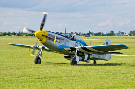 航空ショー: Leszno, Poland - June 18, 2016: plane during the air show. Leszno Air Picnic 2016 is annual event that attracts thousands of viewers.