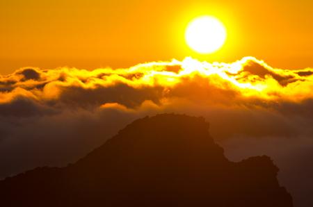 Sunset over Pico Ruivo peak on Madeira island - Portugal Stock Photo