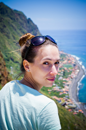 Young woman near Paul do Mar - Madeira, Portugal Stock Photo