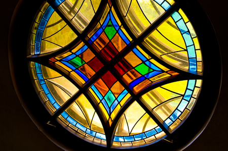 Colorful and beautyful round stained glass