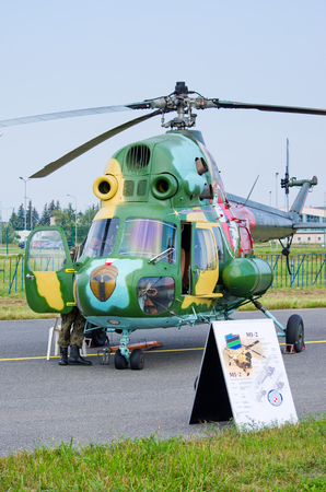 Radom, Poland - August 26, 2017: Mi-2 Helicopter on Airshow Radom. One of most famous aviation events in central Europe. Editöryel