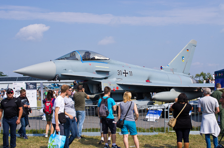 Radom, Poland - August 26, 2017: Eurofighter on Airshow Radom. One of most famous aviation events in central Europe.