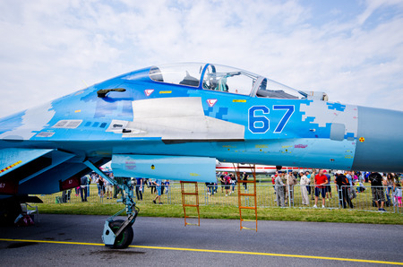 Radom, Poland - August 26, 2017: Su-27 on Airshow Radom. One of most famous aviation events in central Europe.