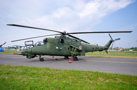 Radom, Poland - August 26, 2017: Mi-24 Helicopter on Airshow Radom. One of most famous aviation events in central Europe. Editöryel