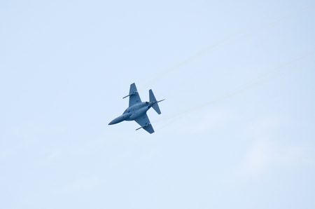Radom, Poland - August 26, 2017: M-346 Master on Airshow Radom. One of most famous aviation events in central Europe. 報道画像