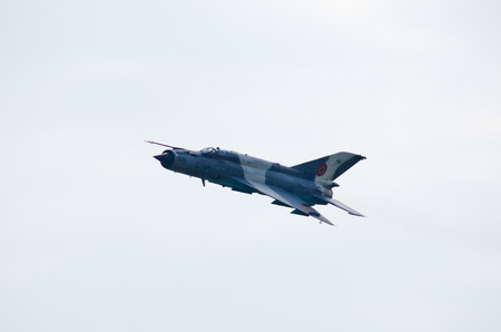 Radom, Poland - August 26, 2017: Mig-21 on Airshow Radom. One of most famous aviation events in central Europe.