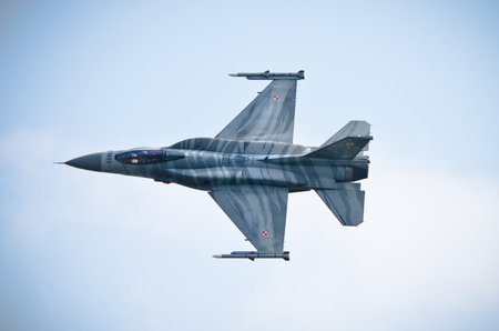 Radom, Poland - August 26, 2017: F-16 on Airshow Radom. One of most famous aviation events in central Europe.