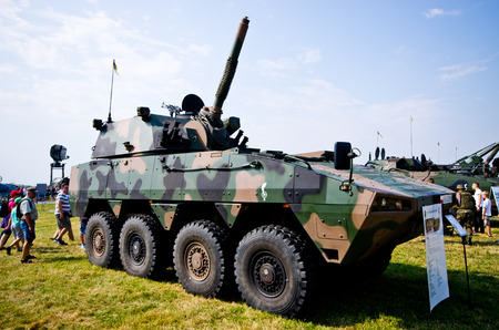 Radom, Poland - August 26, 2017: Army exhibition on Airshow Radom. One of most famous aviation events in central Europe.