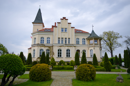 Brzezno, Poland - May 05, 2016: historic palace. Historical castle located on Lower Silesia.