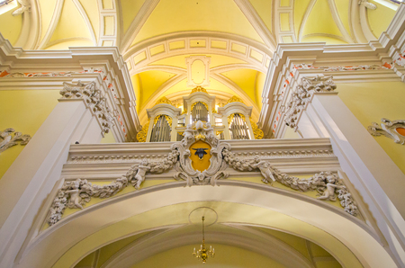 Leszno, Poland - June 19, 2016: interior of church. St. Nicholas Church ? Catholic, in the 16th and 17th centuries used by the Czech Brethren, at present it is one of the most beautiful Baroque temples in Wielkopolska.