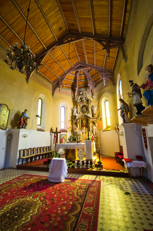 Tyniec nad Sleza, Poland - May 07, 2016: interior of old church. Very old church of St. Michael the Archangel mentioned as early as 1189.