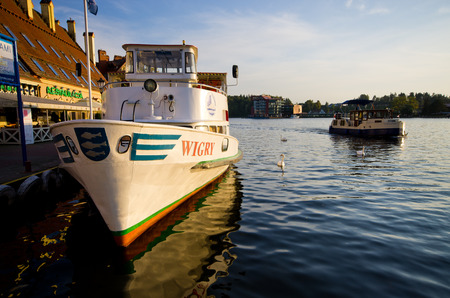 Mikolajki, Poland - August 24, 2017: Wigry Lake. Boat named Wigry on the lake with the same name