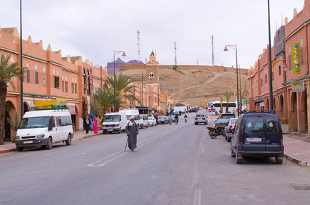 Akdaz, Morocco - March 22, 2016: streets of the town. Traitional old town in Morroco. Editöryel