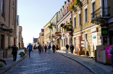Sandomierz, Poland - September 01, 2017: streets of the town. Sandomierz is known for its Old Town, which is a major tourist attraction. In the past, Sandomierz used to be one of the most important urban centers not only of Lesser Poland.