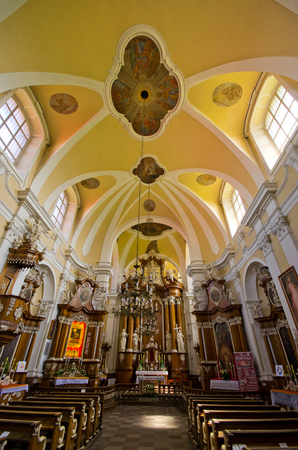 Osieczna, Poland - June 19, 2016: interior of church. The baroque one-nave St. Valentine?s church. Editöryel
