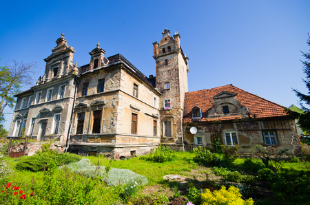 Tyniec nad Sleza, Poland - May 07, 2016: old ruined mansion. There are lot of old ruined houses in Lower Silesian district. Editöryel