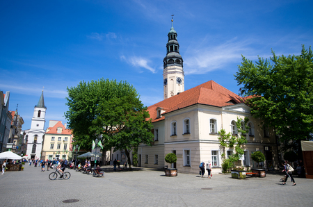 Zielona Gora, Poland - May 19, 2019: old town of the city. The largest city in Lubuskie Voivodeship, in western Poland