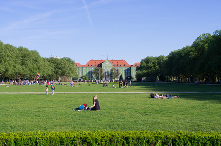Szczecin, Poland - May 19, 2018: Blonia. It is the main park in the City.