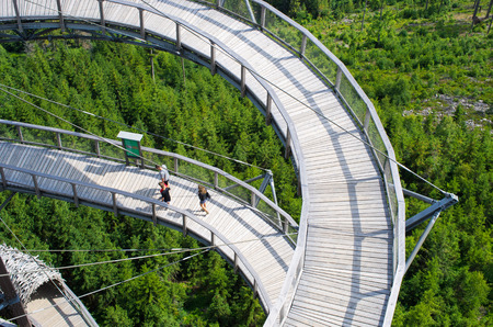 Dolni Morava, Czech Republic - Jun 16, 2018: Sky Walk. Wooden structure located 55 metres above the ground in Jeseniky Mountains.