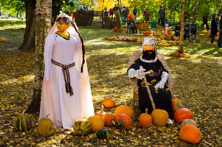 Wroclaw, Poland - October 14, 2018: Pumpkin festival in Botanical Garden. The traditional competition for the biggest pumpkin.