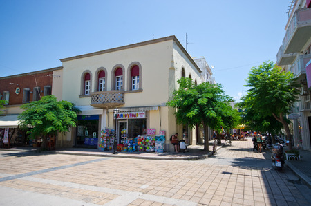 Kos, Greece - June 22, 2018: streets of the town. It is capital city of Greek island - Kos. Editöryel
