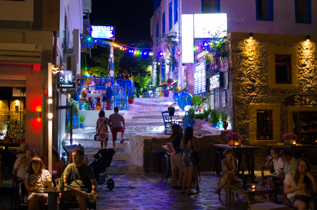 Kos, Greece - June 22, 2018: streets of the town. It is capital city of Greek island - Kos. Publikacyjne