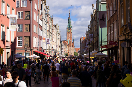 Gdansk, Poland - August 14, 2016: Dlugi Targ street. The Long Lane is one of the most notable tourist attractions of the city.
