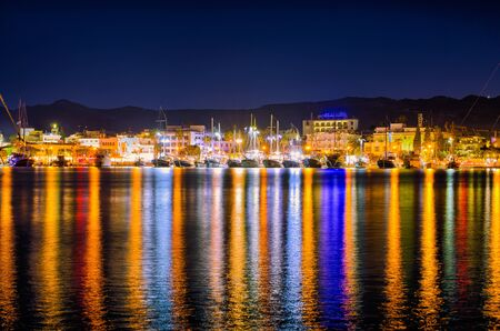 Port of Kos town during the night - Greece