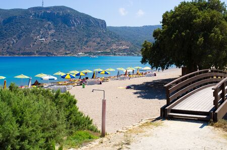 Exotic beach on Kos island, Greece Zdjęcie Seryjne - 128741334